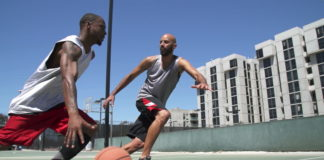 players playing outdoor basket ball